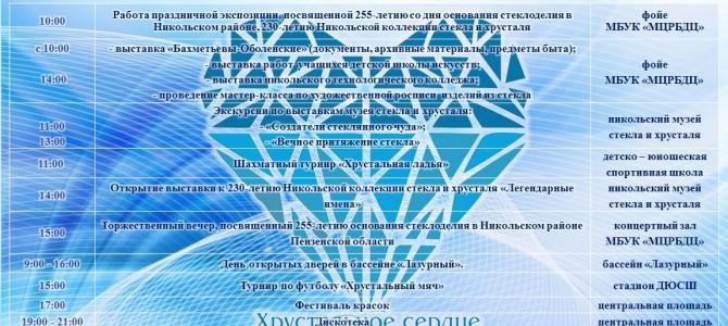 Программа проведения праздничных мероприятий, посвящённых 255-летию основания стеклоделия в Никольском районе Пензенской области